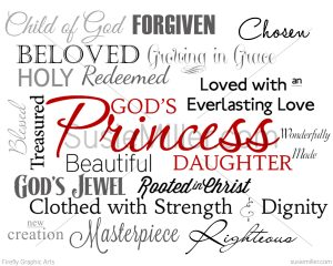 Gods Pirncess Daughter word art